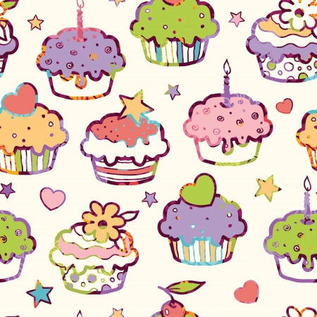Birthday muffins seamless pattern background
