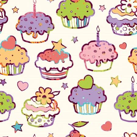 birthday cupcakes: Birthday muffins seamless pattern background