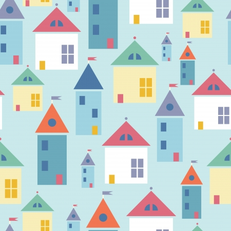 Town houses seamless pattern background Vector