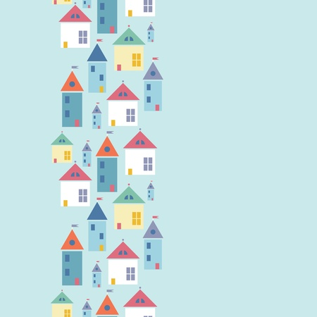 Town houses vertical seamless pattern background border Vector