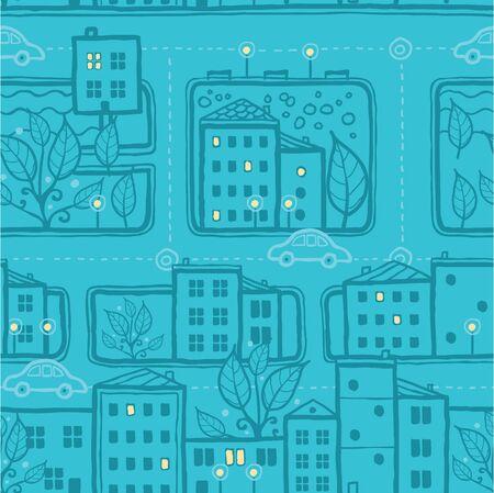 City streets seamless pattern background Vettoriali