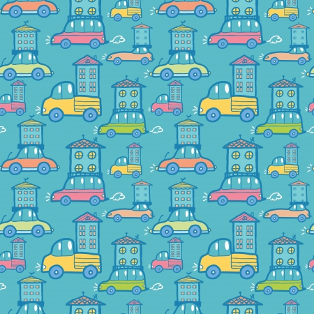 Moving houses on cars seamless pattern background Stock Vector - 17360624