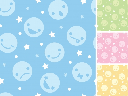 Emoticons four seamless patterns backgrounds Stock Vector - 17360634