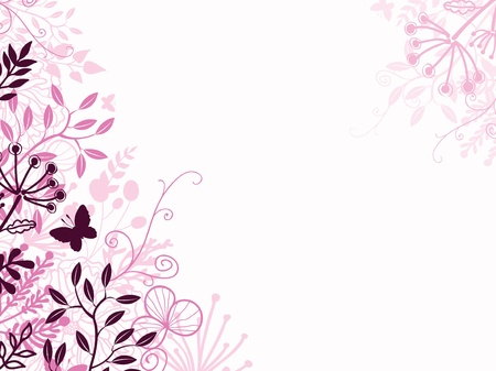 flyer background: Pink and black floral background backdrop Illustration