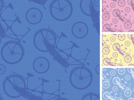 Set of frour tandem bicycles seamless patterns backgprunds Vector