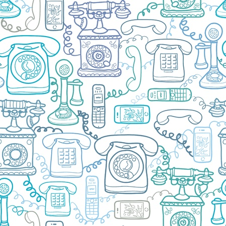telephone cable: Vintage and modern telephones seamless pattern background Illustration