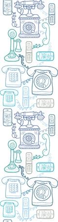 telephones: Vintage and modern telephones vertical seamless pattern  Illustration