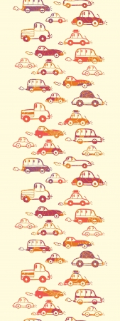 Vibrant cars vertical seamless pattern background border Vector