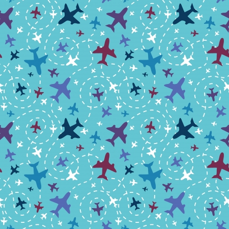Airplanes in the sky seamless pattern background