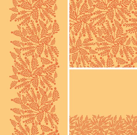 Set of abstract golden plants seamless pattern and borders backgrounds Stock Vector - 17379751