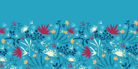 Painted abstract flowers and plants horizontal seamless pattern  Vector