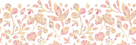 horizontal: Textured pastel Leaves Horizontal Seamless Pattern background