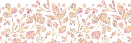 tile pattern: Textured pastel Leaves Horizontal Seamless Pattern background