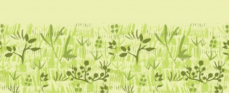 Paint textured green plants horizontal seamless pattern background Stock Vector - 17428738