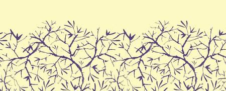 horizontal: Painted tree brunches horizontal seamless pattern background