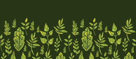 Textured green Leaves Horizontal Seamless Pattern Background Vector
