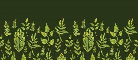 horizontal: Textured green Leaves Horizontal Seamless Pattern Background