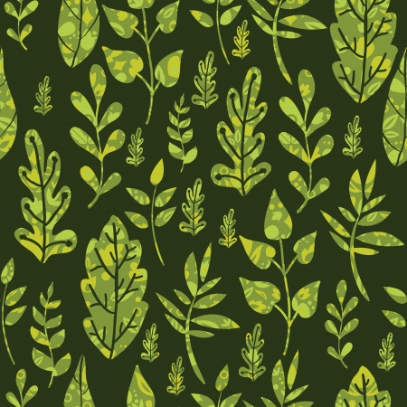 Textured green Leaves Seamless Pattern Background Vector