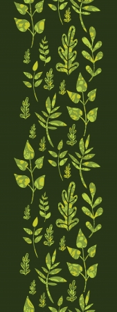 Textured green Leaves Vertical Seamless Pattern Background Vector