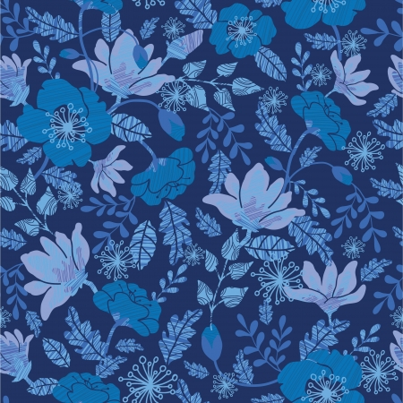 Dark night flowers seamless pattern background Vector