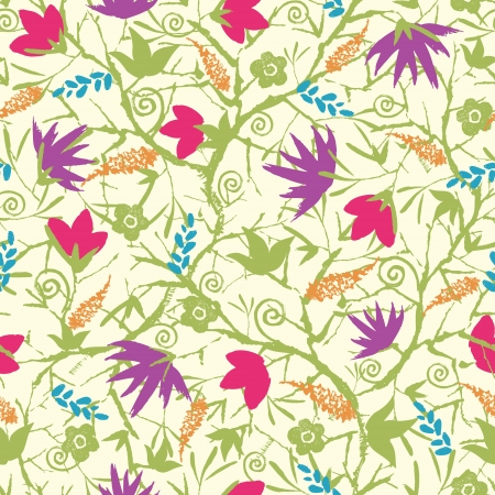 Painted blossoming branches seamless pattern background Stock Vector - 17428723