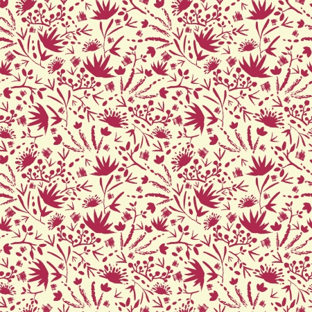 Painted abstract florals seamless pattern background Vector