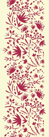Painted abstract florals vertical seamless pattern background Vector