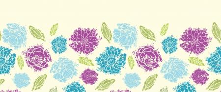 horizontal: Textured painted flower horizontal seamless pattern background