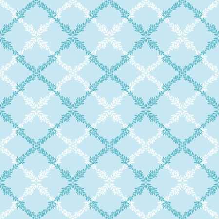 Blue leaves abstract diamond seamless pattern background Vector