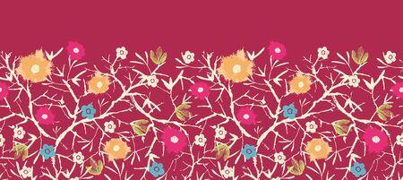 Painterly blossoming tree horizontal seamless pattern background photo