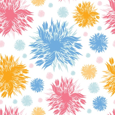 Abstract paint flowers seamless pattern background