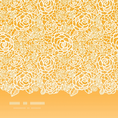 Golden lace roses horizontal seamless pattern background Vector