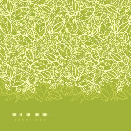 horizontal: Green lace leaves horizontal seamless pattern background
