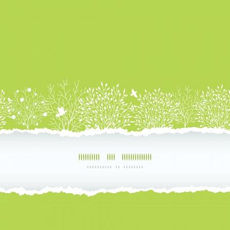 봄 나무 찢어진 종이 수평 boder 원활한 패턴 스톡 콘텐츠 - 17497569