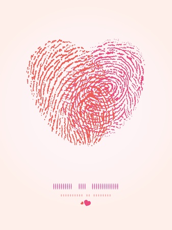 Fingerprint heart romantic background Vector