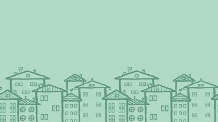 落書き町住宅水平シームレス パターン背景