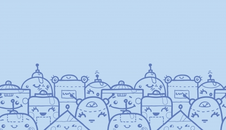 Cute doodle robots horizontal seamless pattern background Vector