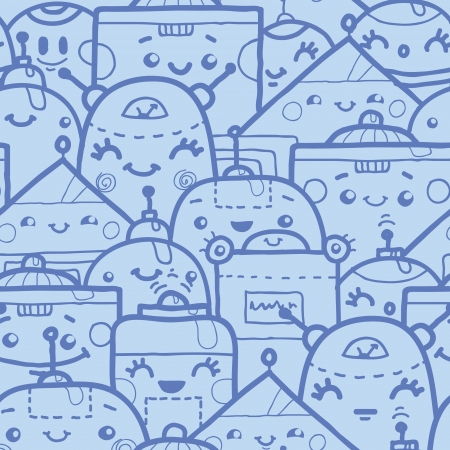 Cute doodle robots seamless pattern background Stock Vector - 17497559