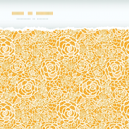 Golden lace roses torn horizontal seamless pattern background Stock Vector - 17590946