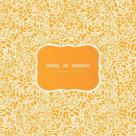 rosas amarillas: Oro encaje de rosas fondo marco modelo incons�til Vectores