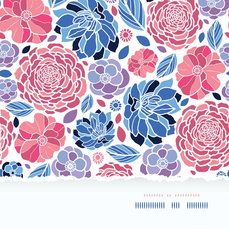 Summer flowers torn paper horizontal seamless background Vector