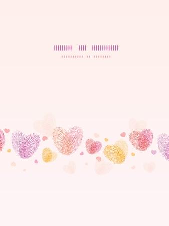 Vingerafdruk hart verticale romantische achtergrond kaart Stock Illustratie