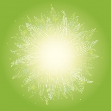 Magical green leaves sunburst background Ilustrace