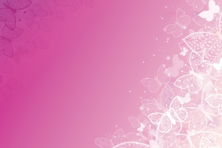 Magical pink butterflies horizontal background Vector