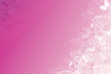 Magische roze vlinders horizontale achtergrond Stock Illustratie