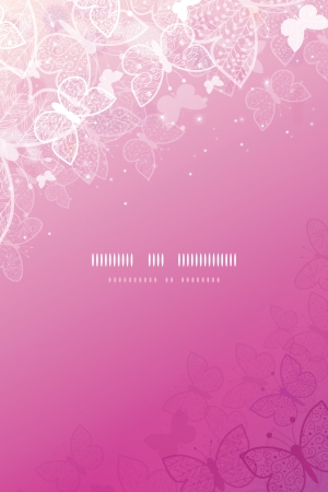 Magical pink butterflies vertical template background