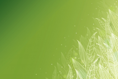 horizontal: Green glowing leaves horizontal background Illustration