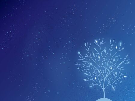 Glowing tree in the night horizontal background
