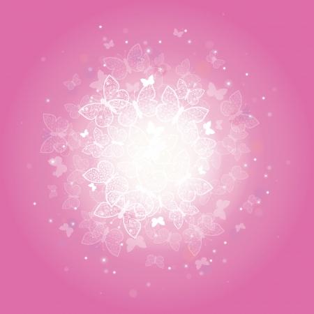 魔法のピンクの蝶サンバースト背景