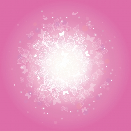 Magical pink butterflies sunburst background